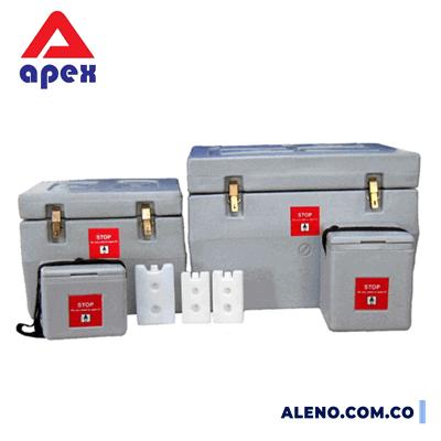caja cava nevera térmica transporte vacunas y medicamentos con botellas enfriadoras o paquetes frios